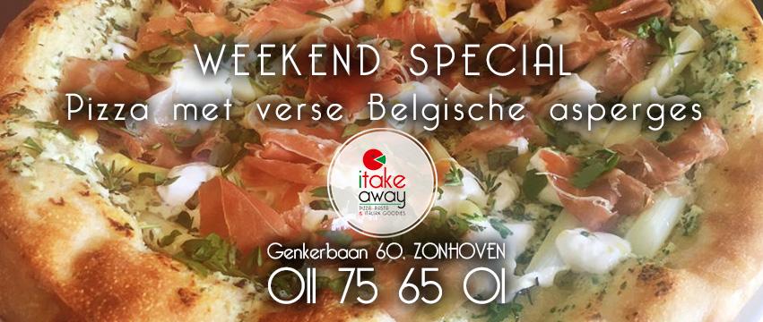pizza belgische asperges i take away actie